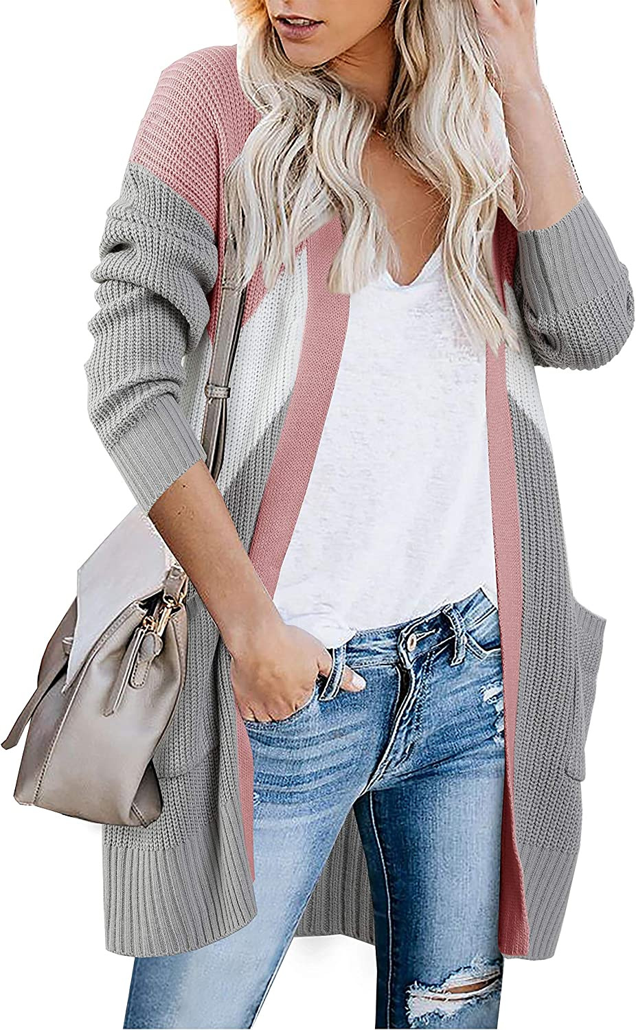 Womens Boho Color Block Cardigans Long Sleeve Open Front Knit Sweater Outwear with Pockets