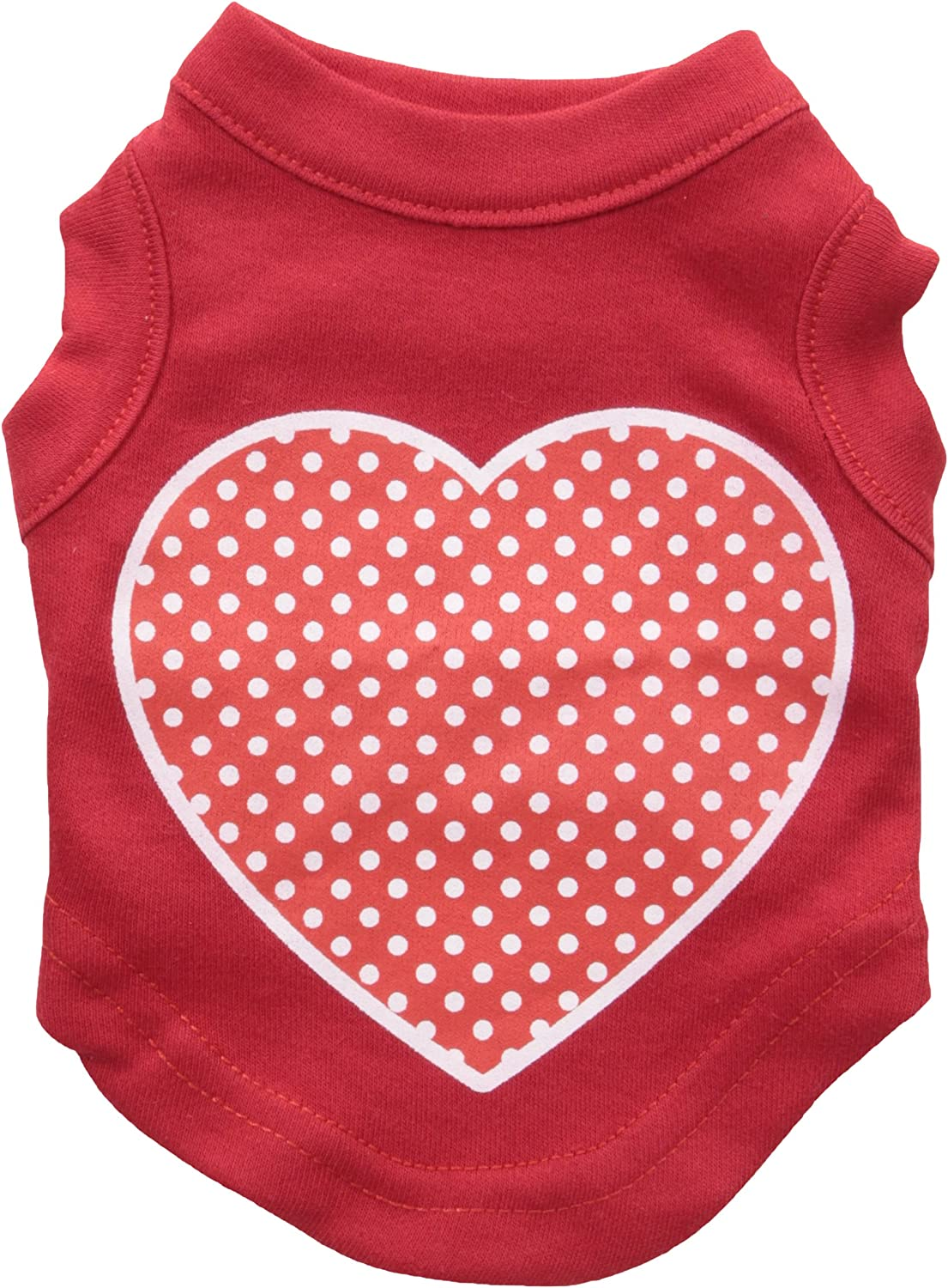 Mirage Pet Products Red Swiss Dot Heart Screen Print Shirt, XSmall, Red