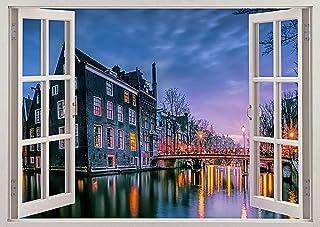 "Fabulous Décor - Amsterdam Canal 3D Window View Wall Art Premium Vinyl Decal Sticker 17""H X 24""W"