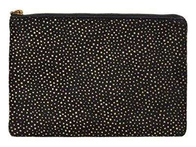 Madewell The Leather Pouch Clutch in Printed Haircalf (True Black Multi) Handbags
