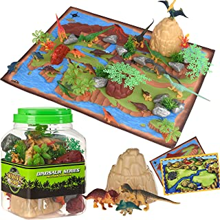 Dinosaur Toys Kids Play Set - 51 Piece Playset of Realistic Dinosaurs Figures in a Bucket Incl Dinasors, Trees, Rocks & 2 Playmats - Lots of Dinosour Fun & Adventure, for Boys & Girls Age 3+