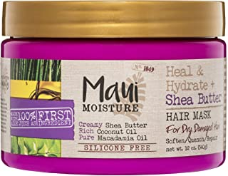 Maui Moisture Heal & Hydrate + Shea Butter Hair Mask & Leave-In Conditioner Treatment to Deeply Nourish Curls & Help Repai...