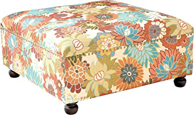 Madison Park Carlyle Coffee Table-Solid Wood Square Large Accent Cocktail Ottoman Modern Style Vibrant Spring Design, Padded