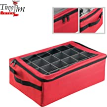 Tiny Tim Totes Red   Premium   48 Christmas Ornament Organizer Storage Box Case