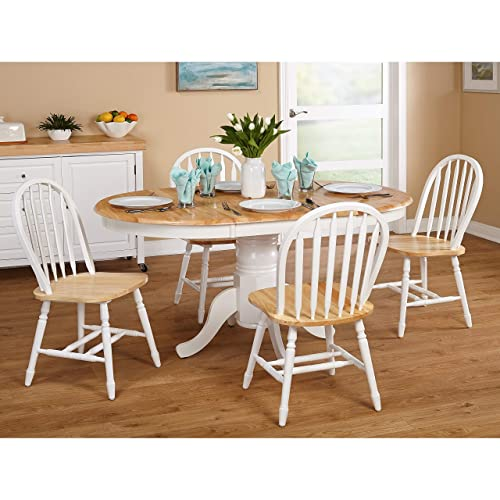 Amazon.com : Simple Living Farmhouse 5-piece White Natural Dining ...