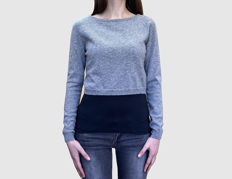 Cashmere Women Top Crop Sweater (beige, medium)