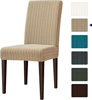 subrtex Dining Room Chair Slipcovers Striped Jacquard Chair Covers Stretch Chair Covers for Dining Room Washable Parsons Seat Covers (Pack of 4, Beige Brown Stripe)