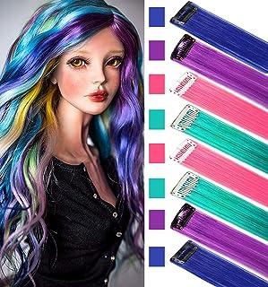 Peluca postizos para niños Extensiones de cabello de colores Clip in/on para niñas y muñecas hiar Accessories Wig Pieces 8 piezas (Rosa púrpura verde azulado)