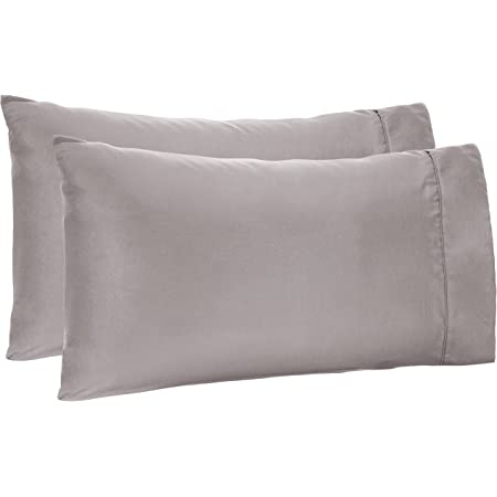 AmazonBasics Microfiber Pillowcases - 2-Pack, Standard, Dark Grey (20 x 30 inches or 51 x 76 cm)