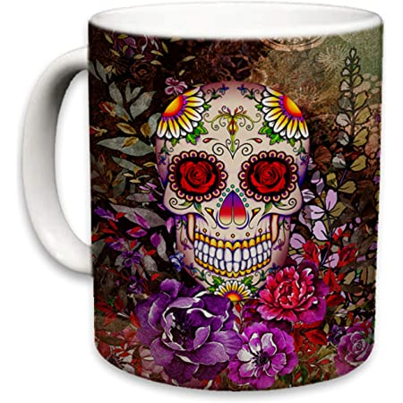 Amazon.com: Sugar Skull Mug - Personalized Large 15 oz or 11 oz Ceramic Cup  - Sugar Skulls Gifts - Halloween Mugs - Sugar Skull Coffee Cups -  Dishwasher & Microwave Safe - Made In USA: Kitchen & Dining