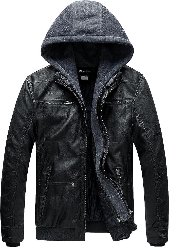 Wantdo, giacca per uomo, in ecopelle con cappuccio,parka con zip antivento,invernale TGZZ228339