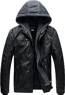 Wantdo Men's Faux Leather Jackets Windproof Warm Coats Motorcycle Retro Multipocket PU Jacket Detachable Hood Matte Textur...