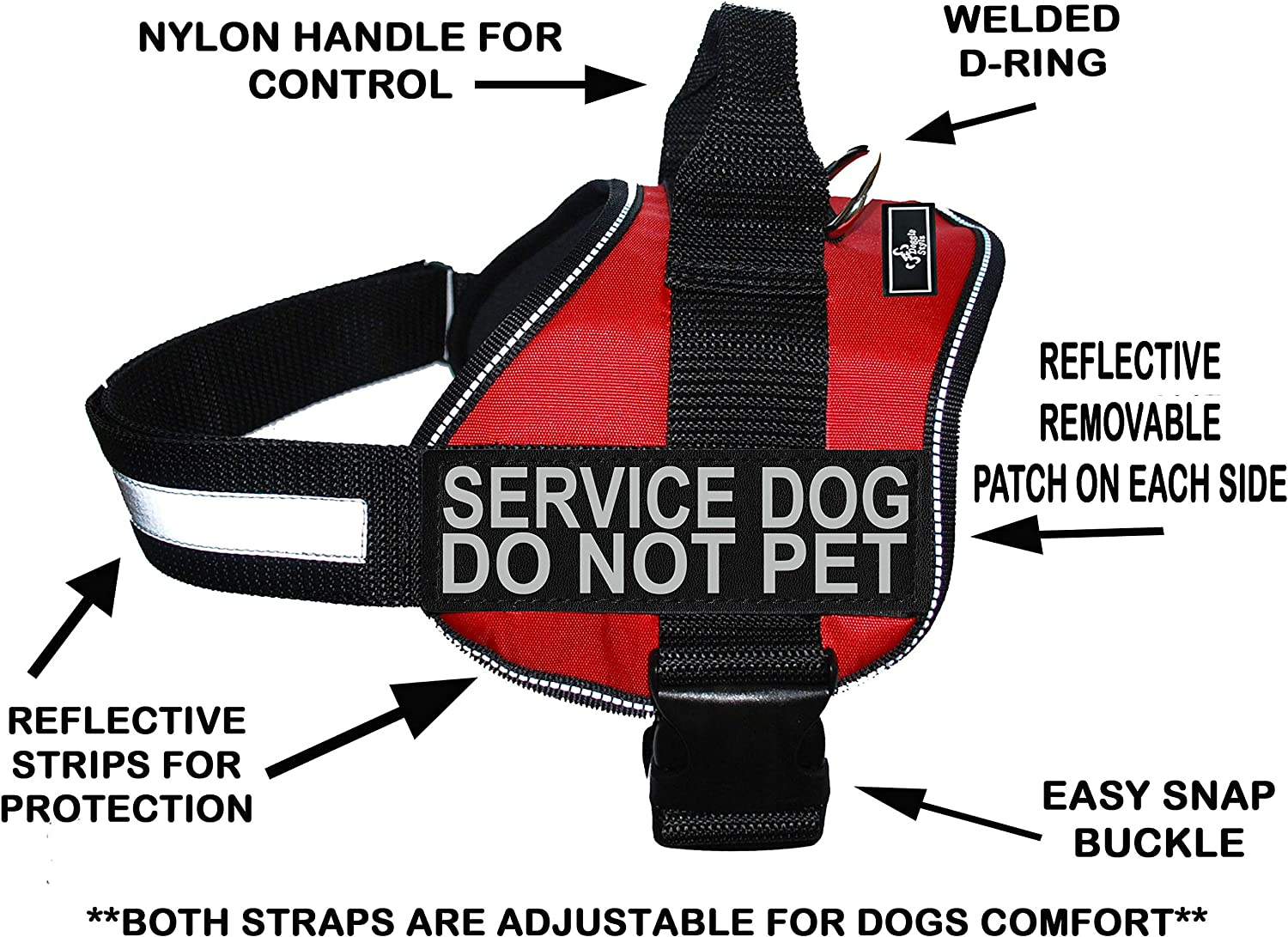 Doggie Stylz Service Dog Harness Vest Comes with 2 Reflective Service Dog DO NOT PET Patches. Please Measure Dog Before Ordering (Girth 1925 , Red)