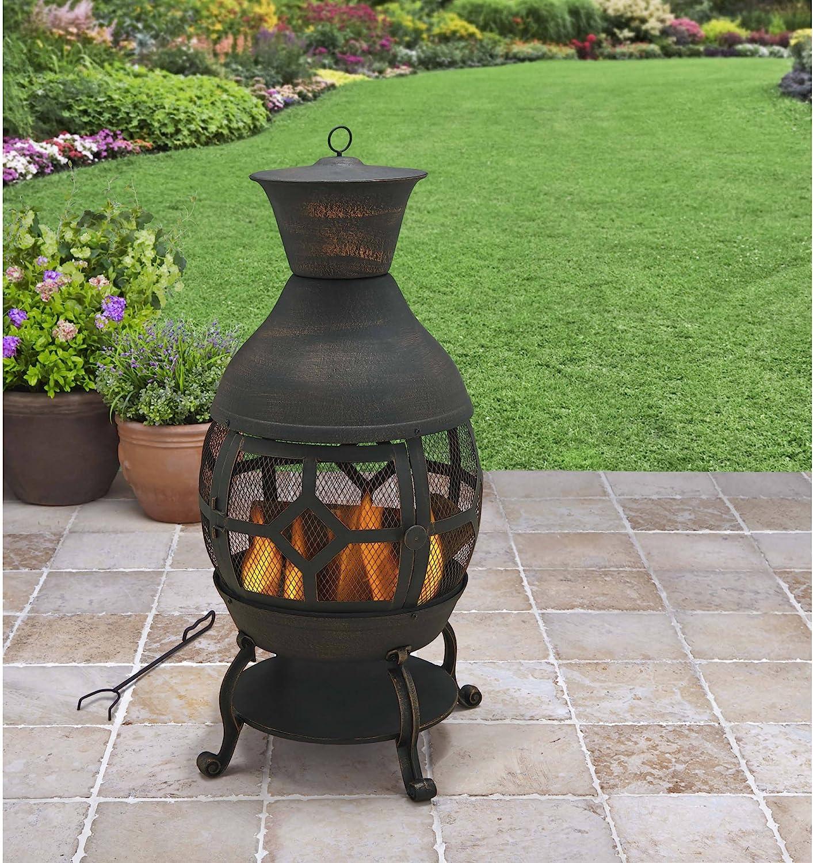 B H & G C10. Better Homes and Gardens Antique Bronze Cast Iron Chiminea,  Durable cast Iron Construction
