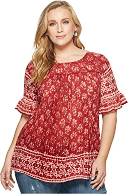 Plus Size Printed Ruffle Top