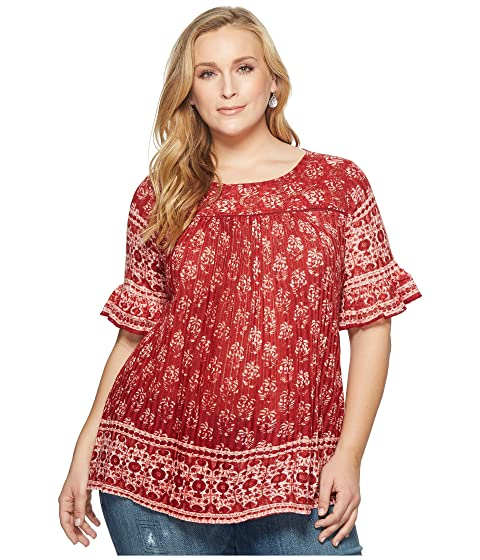 Size Ruffle Lucky Top Red Plus Multi Impreso Brand BzPfPEnqZ