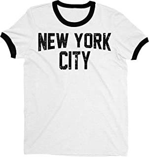 New York City John Lennon Ringer Tee T-Shirt Retro Style Men's Shirt