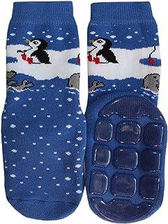 Weri Spezials Spugna Calzini ABS per Bambini con suola Antiscivolo, Colore: Blu chiaro, Taglia: 31-34 (7-8 anni), Pinguino...