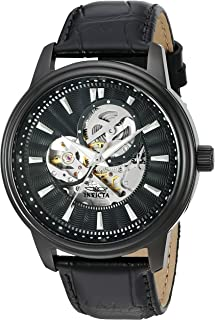 Men's 'Vintage' Automatic Stainless Steel Casual Watch, Color:Black (Model: 22580)