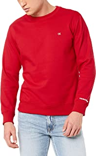 Calvin Klein Jeans Men's Chest Badge Crew Neck Sweater, Barbados Cherry, L