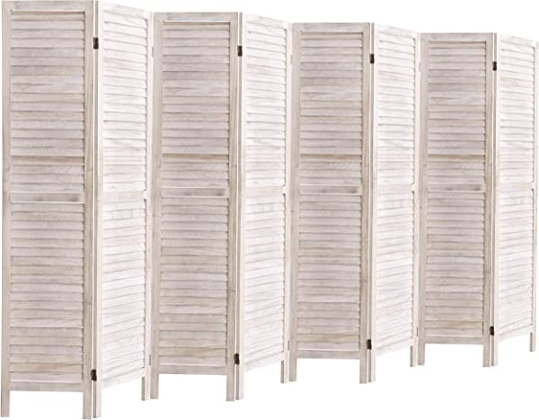 Rose Home Fashion 5 6 Ft Tall Wood Louvered Room Divider Solid Wood Folding Room Divider Screens Panel Divider Room Dividers Room Dividers And Folding Privacy Screens 8 Panel White Washed