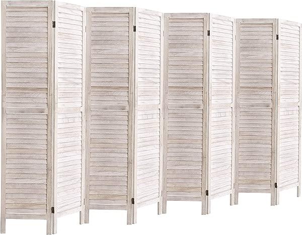 玫瑰家居时尚高木百叶房间隔断实木折叠房间隔断屏风面板隔断房间隔断和折叠隐私屏风 8 面板白色水洗
