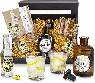 Das Gin Gallus 43 Geschenkset mit Tonic und Gläsern