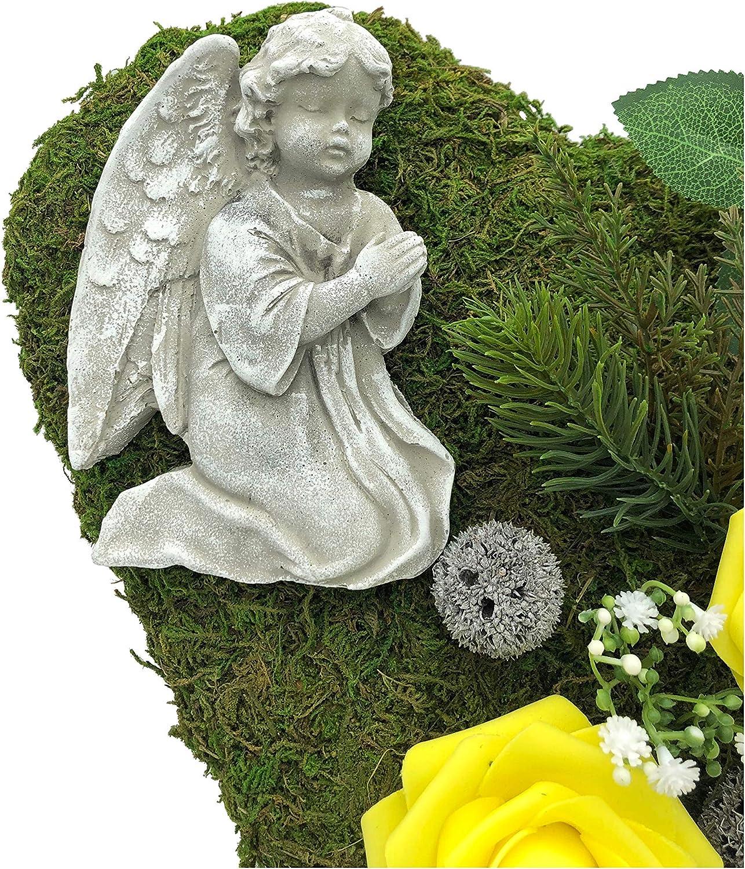 Radami D/écoration fun/éraire en Forme de c/œur tomba Croix ou Ange en Forme de c/œur et c/œur Gris c/œur fun/éraire