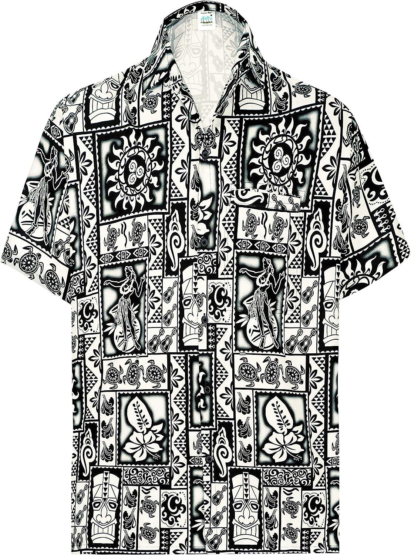 HAPPY BAY Mens Hawaiian Button Down Vintage 3D Shirt Casual Holiday Short Sleeve