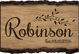 LifeSong Milestones Established Name and Date Wall Sign Personalized Custom Family Name Sign Engraved with Family Name and Established Date (Est. Date)