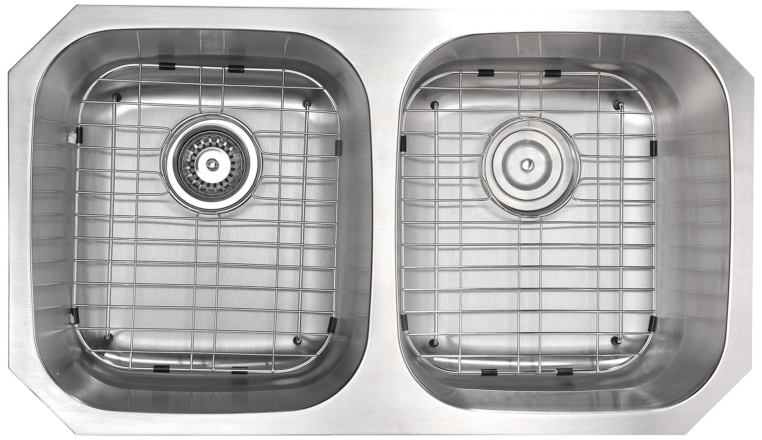 Anzzi Moore 32 Inch 304 Stainless Steel Undermount Double Kitchen Sink With 50 50 Split 16 Gauge Deep Soak Dual Basin Bowl Kitchen Sink With Bottom Grid Strainer And Drain K Az3218 2b Amazon Com
