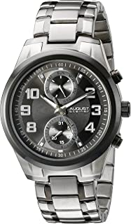 August Steiner Men's Black Dial Stainless Steel Band Watch - As8173Ttb, Silver/Black Band, Analog Display