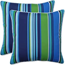 Pillow Perfect Outdoor | Indoor Sea Island Blue 18.5-inch Throw Pillow (Set of 2), 18.5 X 18.5 X 5