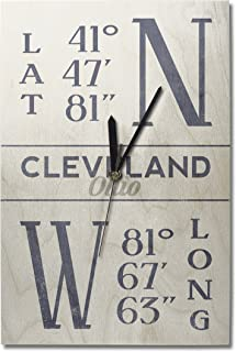 Lantern Press Cleveland, Ohio - Latitude and Longitude (Blue) (10x15 Wood Wall Clock, Decor Ready to Hang)