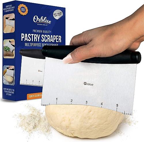 ORBLUE Pastry Scraper and Cutter Stainless Steel, Pizza Dough Cutter and Chopper, Multipurpose Bench Scraper