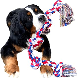 Youngever 3.2 Feet 5 Knots Dog Rope Toys for Aggressive Chewers, Tough Rope Chew Toys for XL, Large and Medium Dog, Indestructible Cotton Rope for Large Breed Dog Tug War Teeth Cleaning