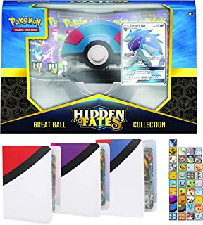 Totem World Hidden Fates Poke Ball Collection Box: Great Ball with 3 Totem Mini Binder Collectors Album for Pokemon Cards Tag Team GX Rare Holo Common or Uncommon TCG