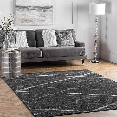 Amazon Com Nuloom Thigpen Contemporary Area Rug 8 10 X 12 Dark Grey Furniture Decor