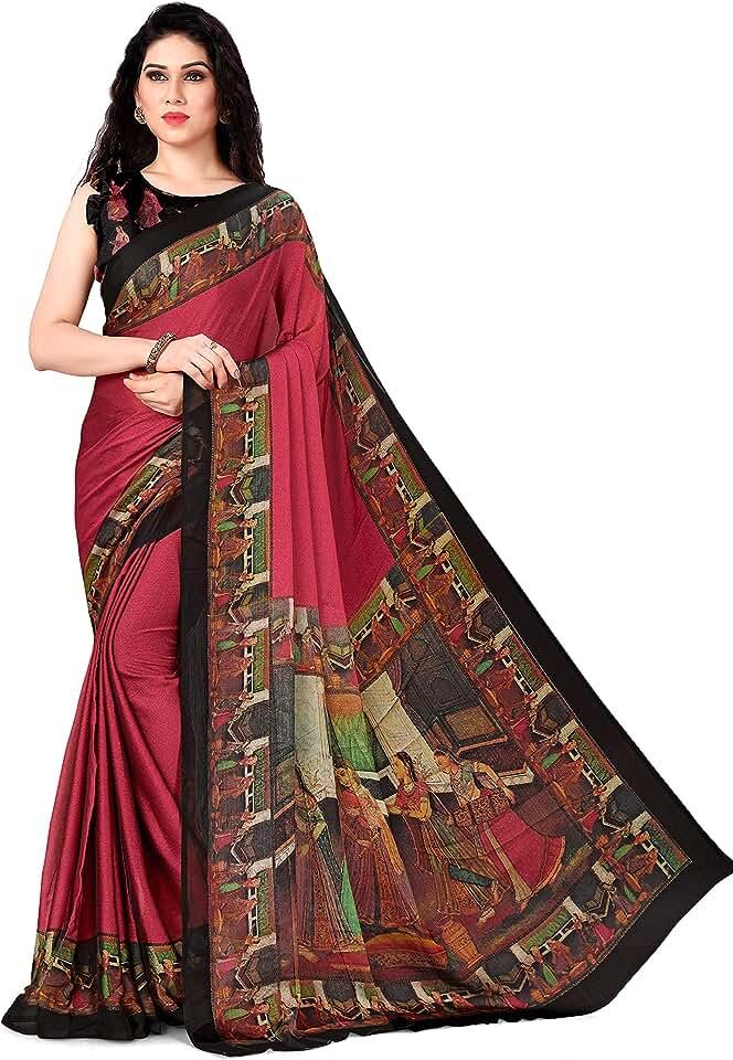 Indian SOURBH Women's Plain Weave Chiffon Saree With Blouse Piece Saree