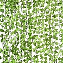 DearHouse 12 Strands Artificial Ivy Leaf Plants Vine Hanging Garland Fake Foliage Flowers Home Kitchen Garden Office Wedding Wall Decor, 91 Feet