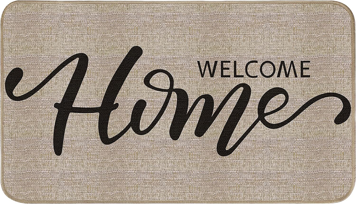 EasyAcc Front Door Mat Indoor Outdoor for Entry, Welcome Home Entrance Doormat 30 x 17 inches Non Slip Washable Door Mats Rug with Rubber Backing-Brown