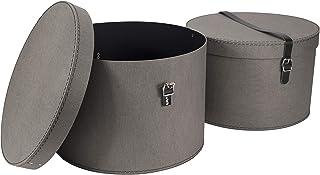 Bigso Box of Sweden Set van 2 opbergdozen met deksel – ronde opbergbox met lederen riemen – grote en kleine hoeden van vez...