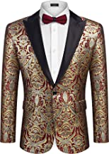 COOFANDY Mens Luxury Suit Jacket Slim Fit Floral Blazer for Party Wedding Prom