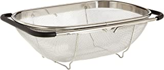 Uniware Over The Sink Colander Strainer, Large, 13.5 x 9.3 Inch, Stainless Steel, Adjustable