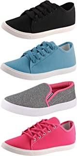 Chevit Trendy Light & Miss Perfect Combo Pack of 04 Pairs Multicolor Sneakers & Loafers Shoes for Women/Girls