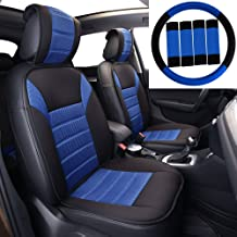FH Group FB201102 Polyester Car Seat Cushion Pads Pair Set w. Steering Wheel Cover & Seat Belt Pads, Blue/Black Color- Universal Car, Truck, SUV, or Van