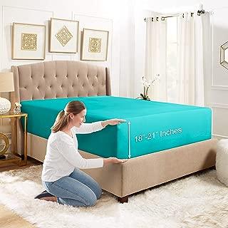 Empyrean Bedding Deep Pocket Fitted Sheet – Hotel Luxury Silky Soft Double Brushed Microfiber Sheet – Hypoallergenic Wrinkle Free Cooling Deep Pocket Bed Sheet, Teal Blue - King
