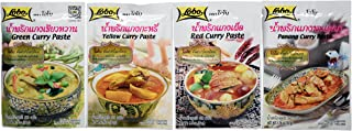 Curry Paste Sampler 4-Pack: Penang Curry Paste, Red Curry Paste, Yellow Curry Paste, Green Curry Paste. All The Most Popular Thai Curry Pastes for You to Savour.