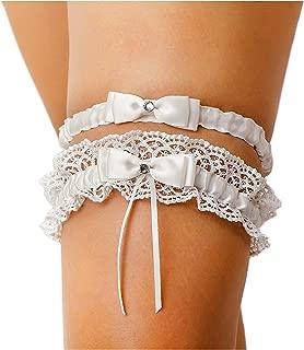 Ivory Bow Tie Ribbon Style Wedding Garter Set with Rhinestone (Set)