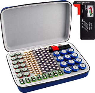 Battery Organizer Storage Box with Battery Tester (BT168), Carrying Case Bag Holder fits for 136 Batteries AA AAA 9V C D L...